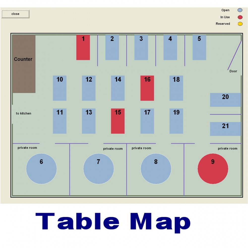 SAXPOS Restaurant Software - Restaurant table map